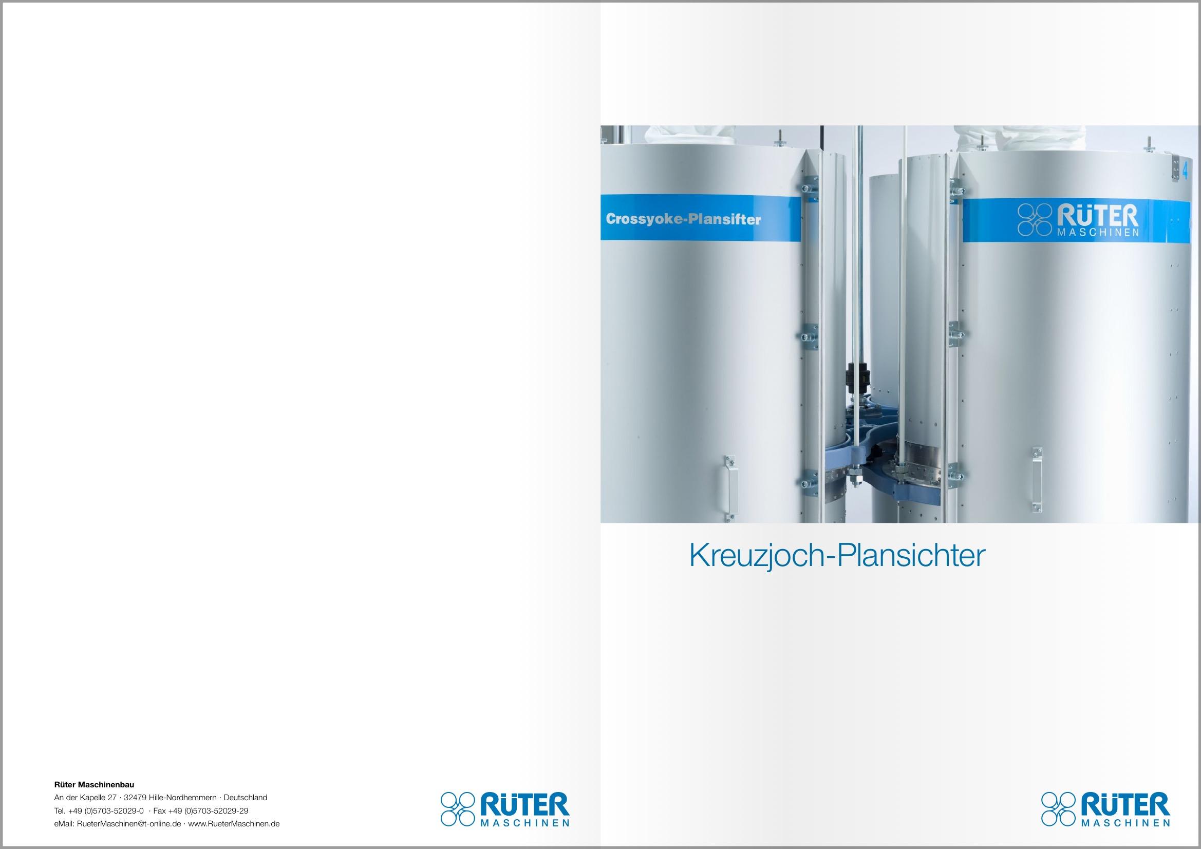 Maschinenbau-Prospekt DIN A4 Rüter-Plansichter DE Titel-und Rückseite